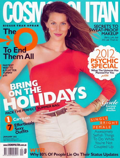 Gisele covers Cosmopolitan Australia, January 2012