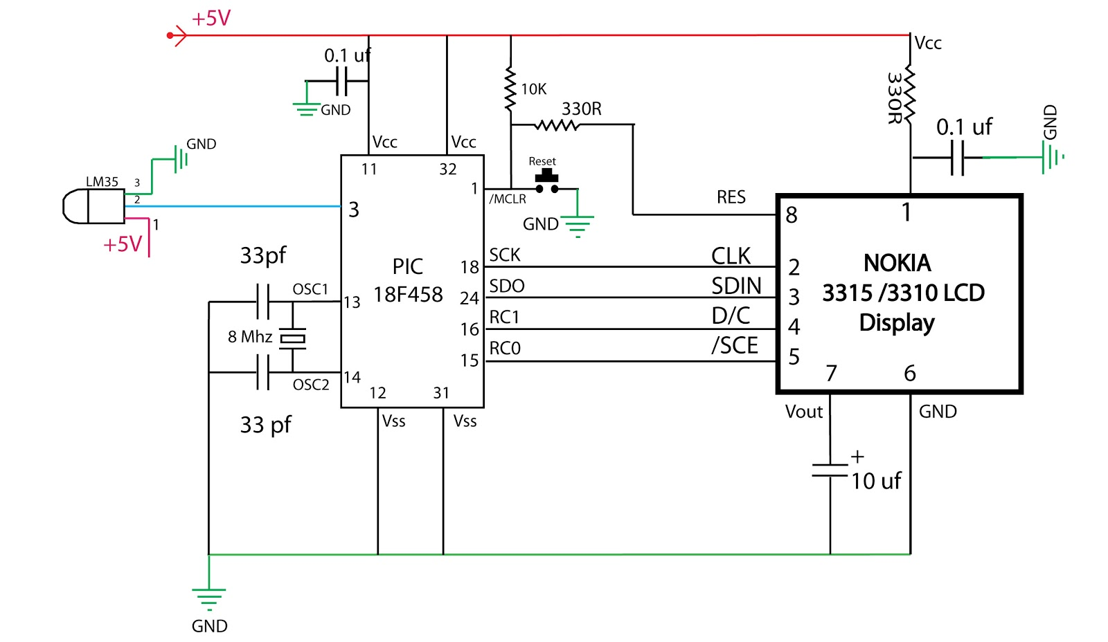 embedded engineering   nokia 3315 lcd based temperature meter