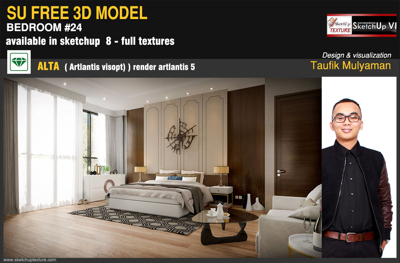 24# bedroom free sketchup model artlantis render by Taufik Mulyaman