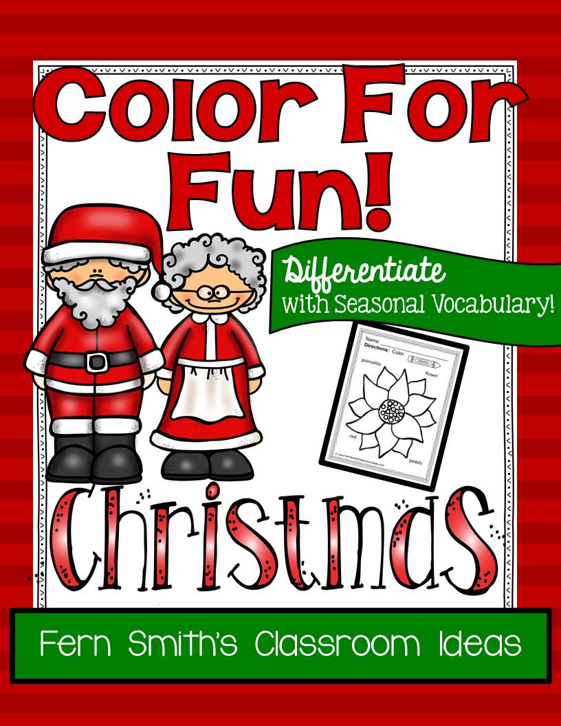 Christmas Fun with Seasonal Vocabulary! Color For Fun Printable Coloring Pages