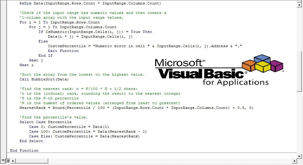 Write a custom vba function