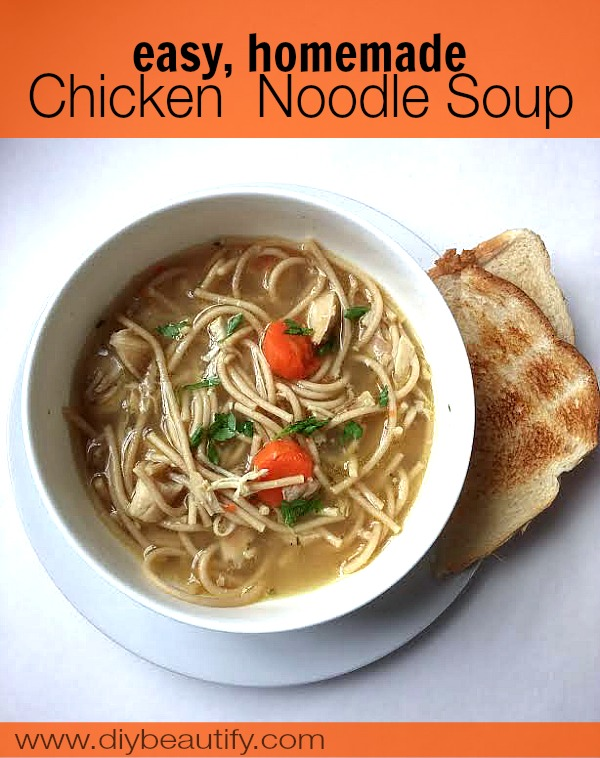 Homemade Chicken Noodle Soup made from a Rotisserie chicken (leftovers ...