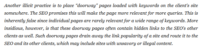 SEO companies usually create doorway pages