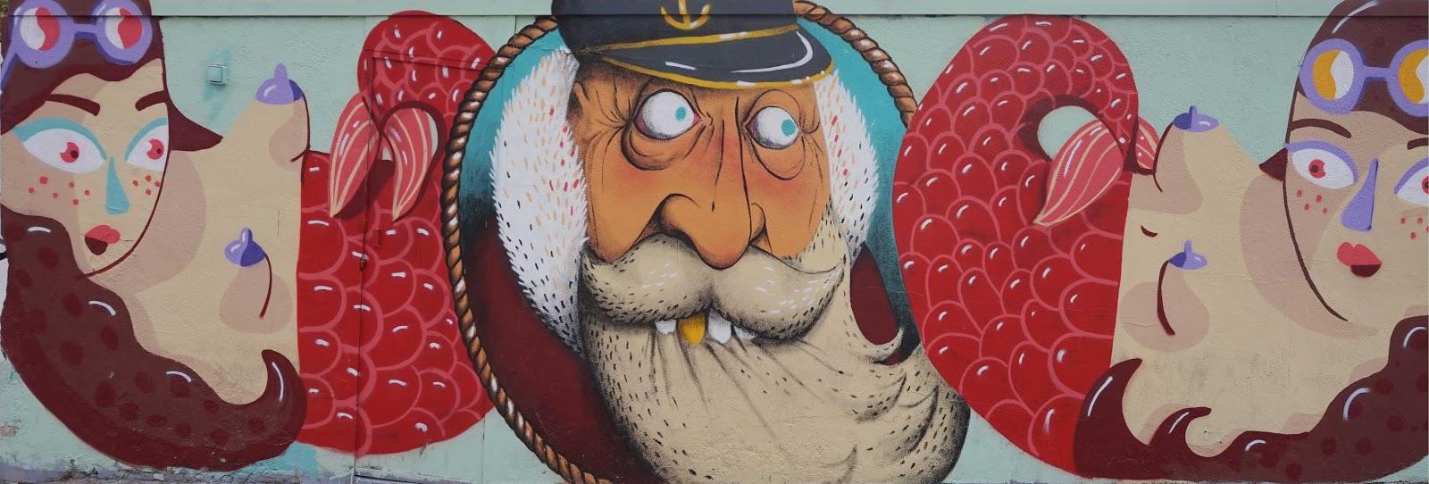 Barcelona Street Art - Sailor and mermaids
