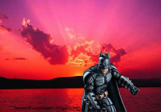 Wallpapers of Batman Ready to Fight Evil Posters and Desktop Wallpaper in Sunset Landscape background