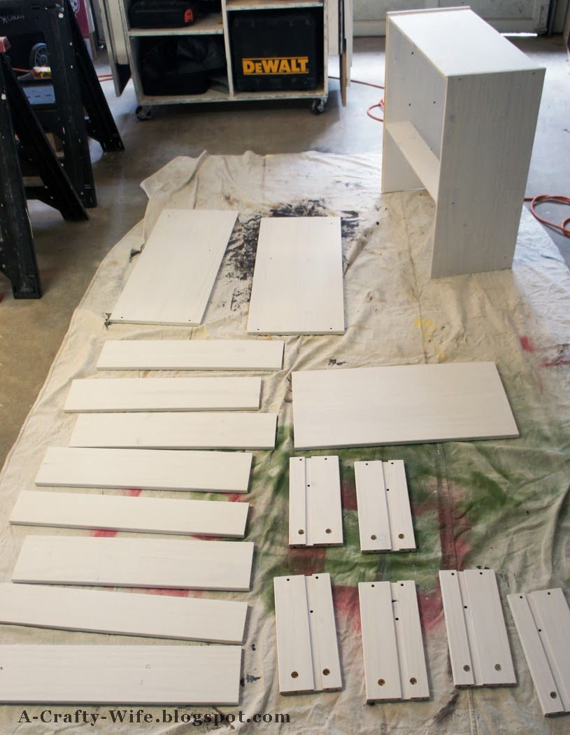 Prime and paint all the wood pieces from Ikea Rast | A Crafty Wife