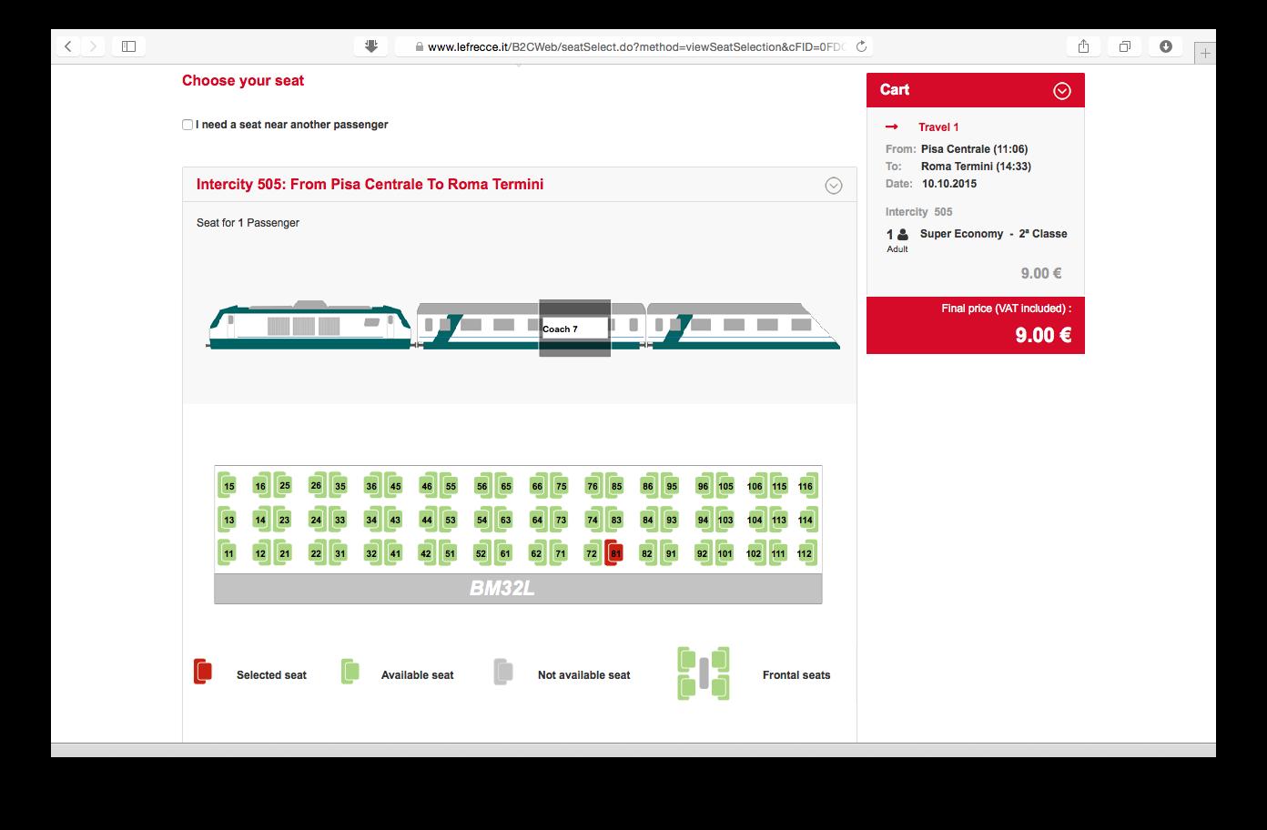 Tampilan web Trenitalia: memilih kursi