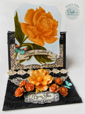 Easel card using Marion Smith Designs Curious Stamp. Card designed by Tonya A. Gibbs  #psychomomscrapbooks #marionsmithdesigns