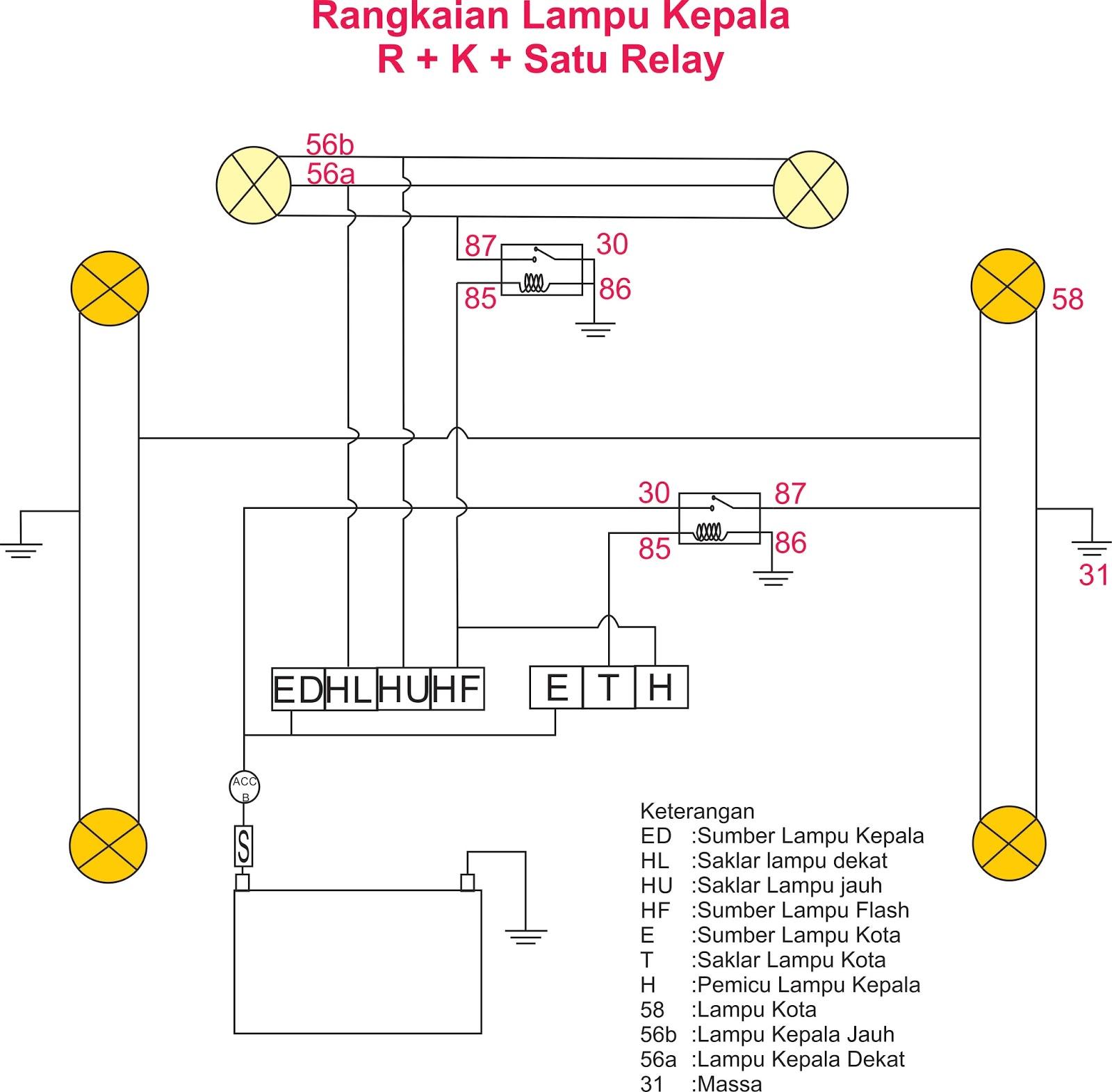 Teknologi otomotif system kelistrikan body wiring diagram lampu kepala a rangkaian positif kendali positif 2 relay b rangkaian positif kendali positif 1 relay swarovskicordoba Gallery