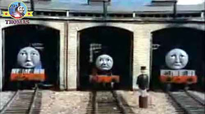 Thomas and friends Henry James and Gordon the big blue express engine in the wooden railway shed