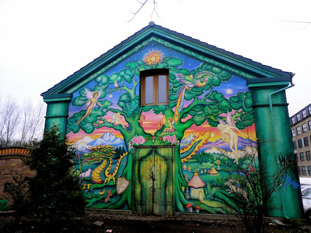 Colourful mural outside Christiania, Copenhagen, Denmark