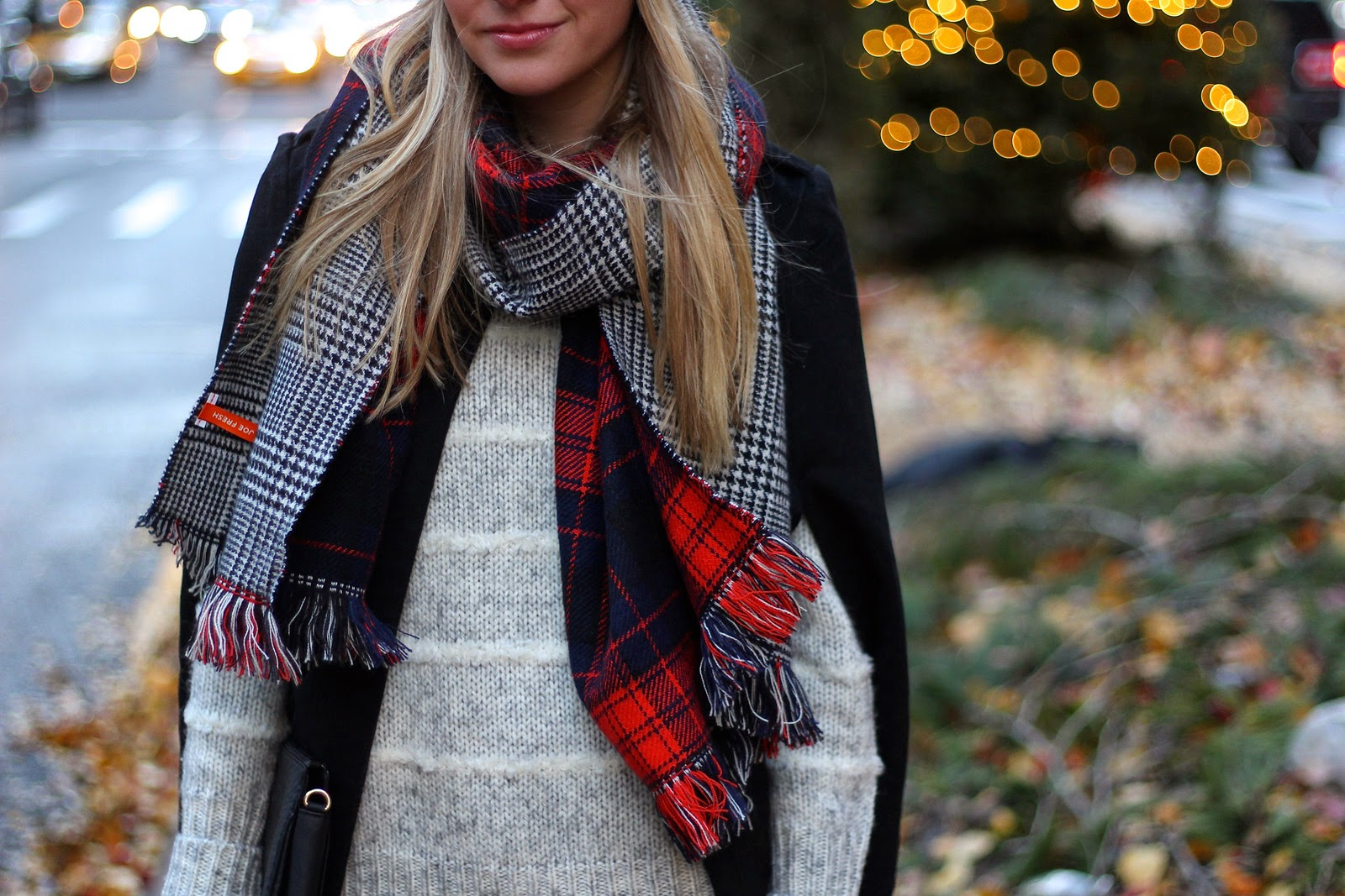 how to layer, black cape, oversized scarf, over the knee boots