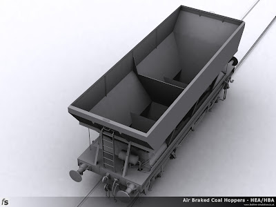 Fastline Simulation - HBA Hopper: Top view of the completed shape of the HBA coal hopper for RailWorks Train Simulator 2012 showing the interior of the hopper and a high view of the air tank and associated pipework.