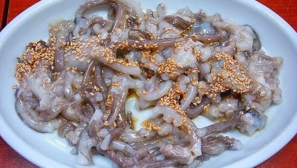 Tentáculos de uma lula filhote