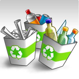 papel, vidrio, aluminio y plastico para reciclar
