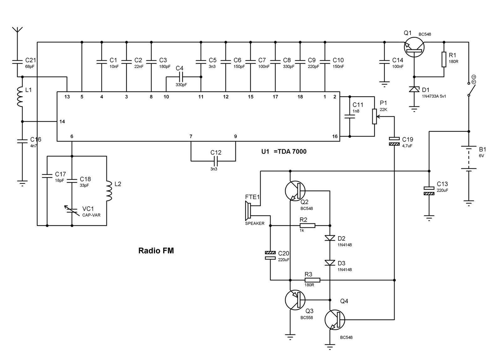 Circuito Zener : Rafcom: receptor de fm com tda 7000
