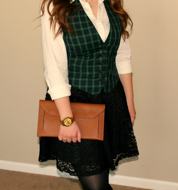 express-original-essential-top, ralph-lauren-plaid-vest, lc-lauren-conrad-lace-skirt, banana-republic-kinsley-pump, movado-bold-luxe-chronograph-watch, kate-spade-new-york-one-in-a-million-initial-necklace, spencer-hastings-style-of-pretty-little-liars, spencer-hastings-plaid-vest-look, how-to-get-spencer-hastings-look