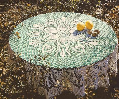 "Mantel Redondo ""Primavera"" a Crochet"