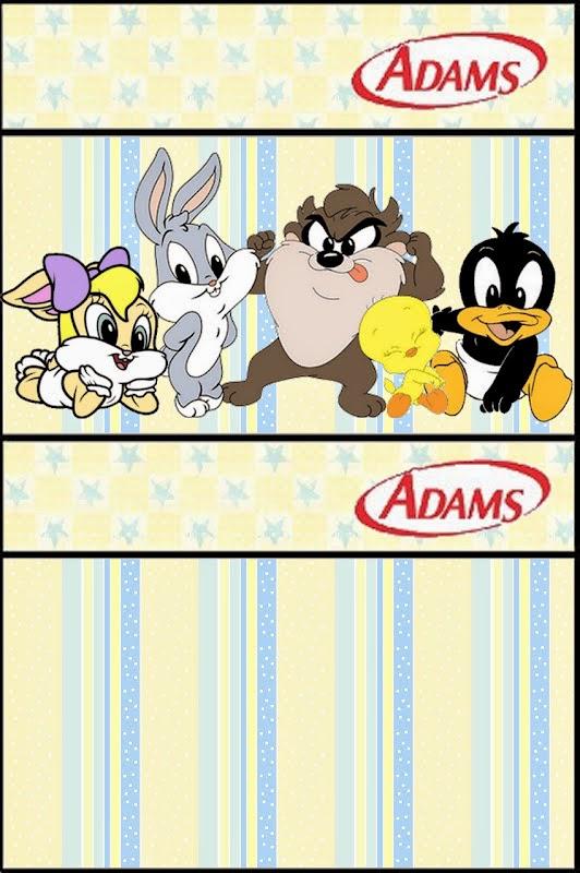 Adams gum labels of Lonney Tunes Babies free printable.