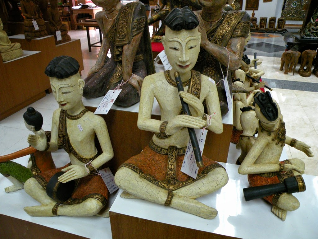 Thai wood carved figurines