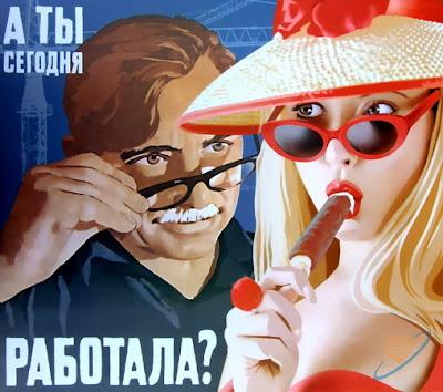 Valery Barykin . Poster vintage pin-ups soviéticas