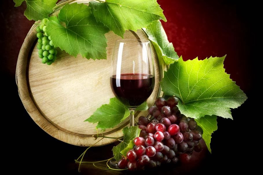 red-glass-grapes-leaves-barrel-good-morning-wallpapers