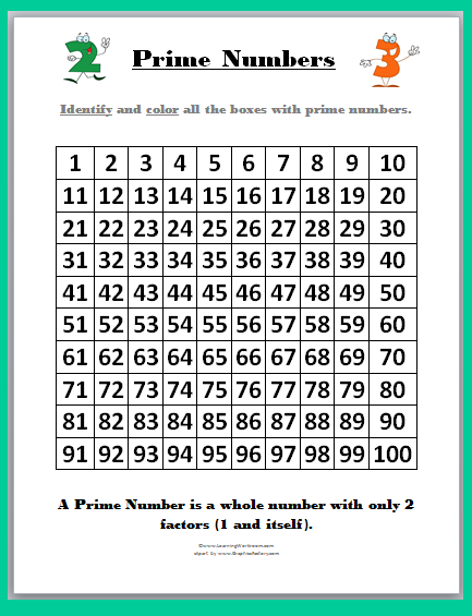 Prime and Composite Numbers Worksheet 1 - Kidschoolz