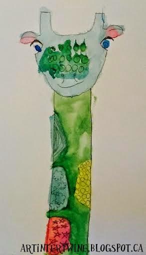 watercolor pattern giraffe art for kids