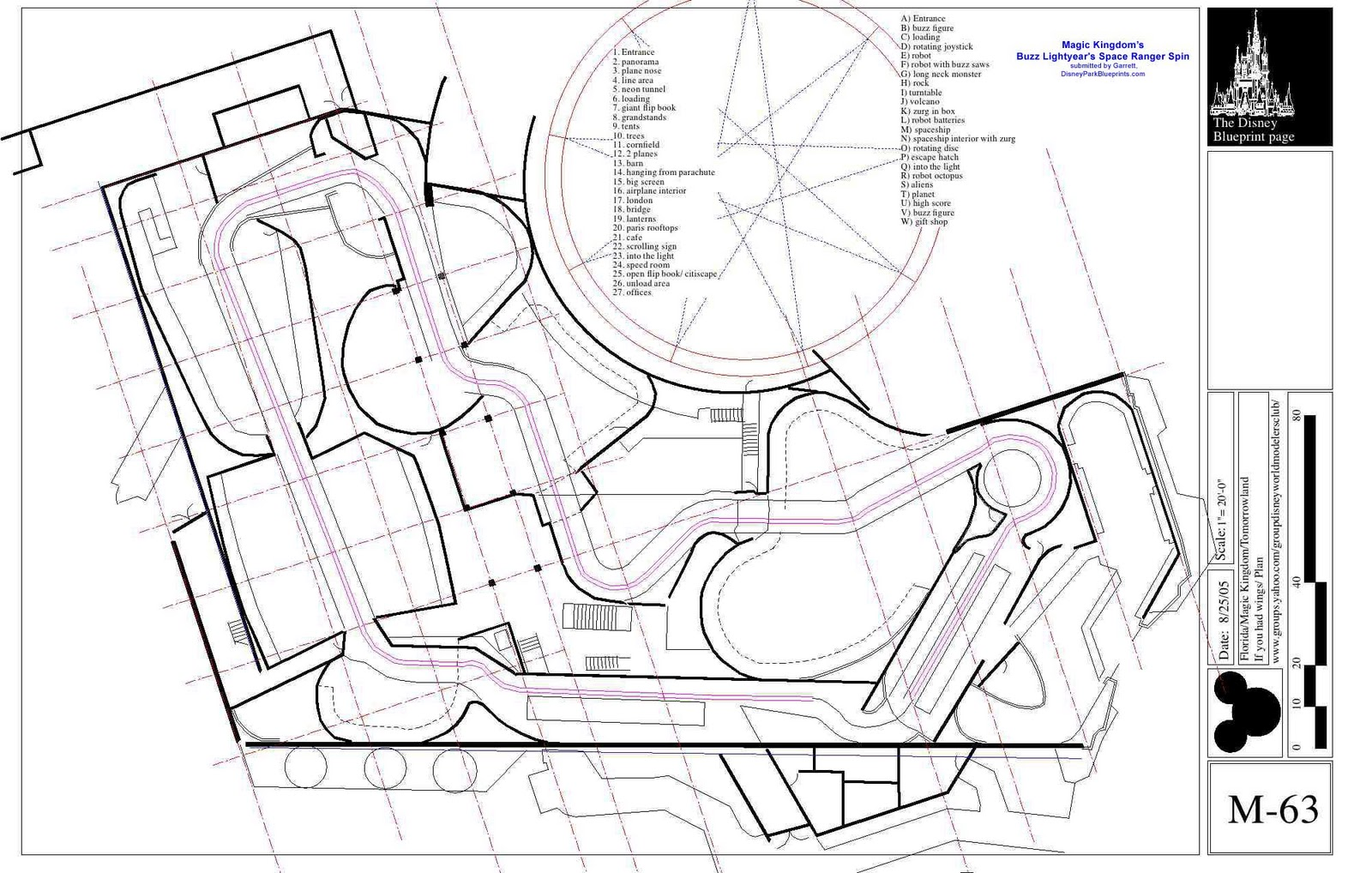 Disney Park Blueprints: Buzz Lightyears Space Ranger Spin  Magic Kingdom FL USA - Disney Magic Floor Plan