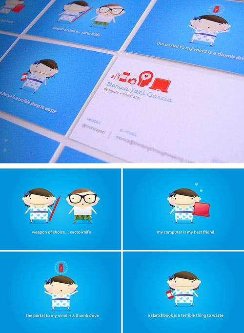 Cartões de visita criativos - Monica Yael Garcia - Design e Ilustração