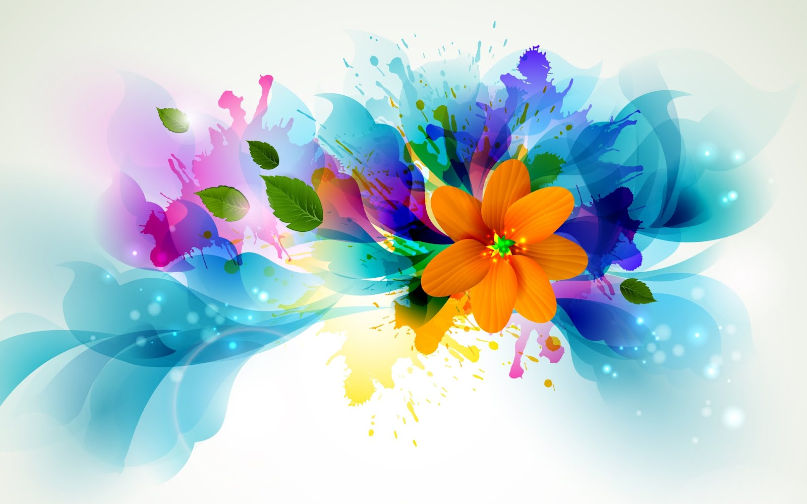 Ilustración de flores brillantes - Bright flowers draw