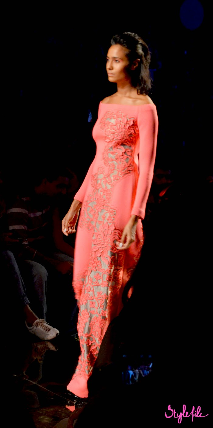 Lakme Fashion Week, LFW, Fashion Week, designer, model, gown, dress, cutwork, neon, bright, pankaj nidhi, design