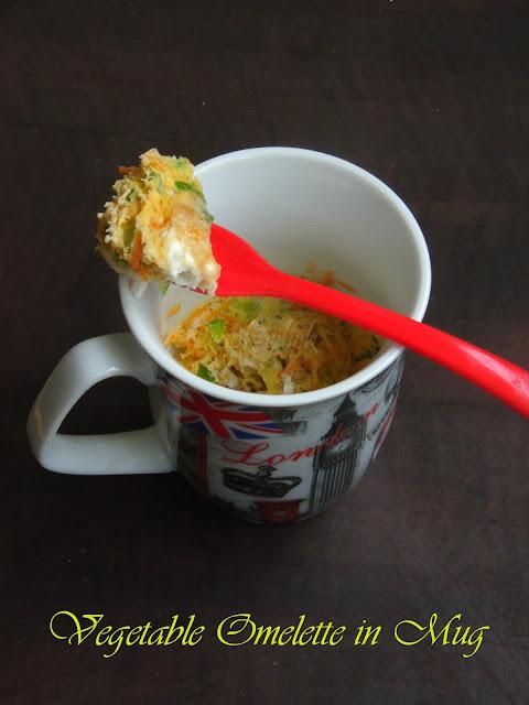 Vegetable omelette in Mug, Microwave omelette