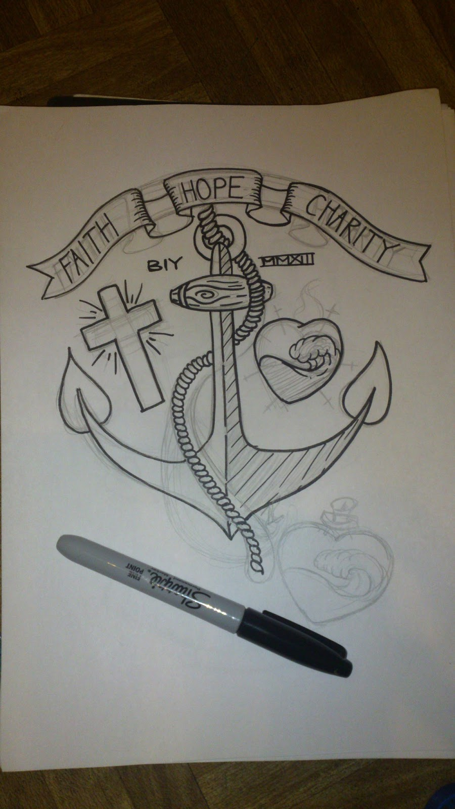 Faith Hope Charity Tattoo Designs Initial sketch with positions
