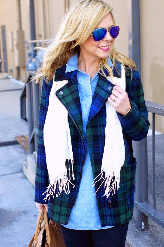 Blue and green plaid coat forever 21