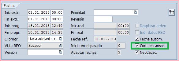 La programacion incluida pausas marca el parametro con descansos