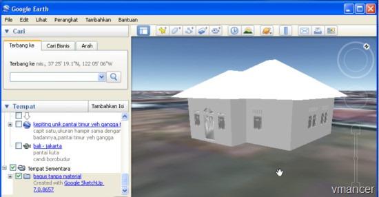 Menampilkan model 3D Google SketchUp pada Google Earth