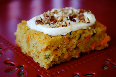 Zucchini Recipe for Carrot & Zucchini Bars with Lemon Cream Cheese Frosting