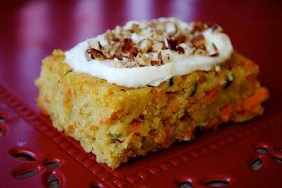 Zucchini Recipe for Carrot & Zucchini Bars with Lemon Cream Cheese Frosting