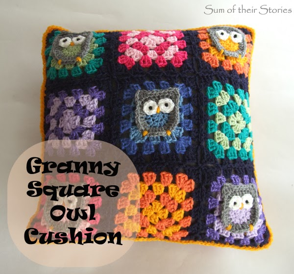 Owl Granny Square Cushion Cover