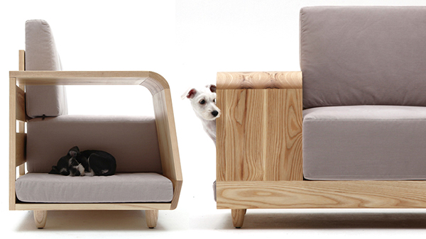awesome design couch and chair: modern cushioned sofa with dog