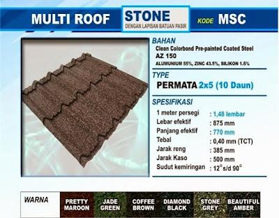 Jual Genteng Metal Multi Roof,Tipe Permata