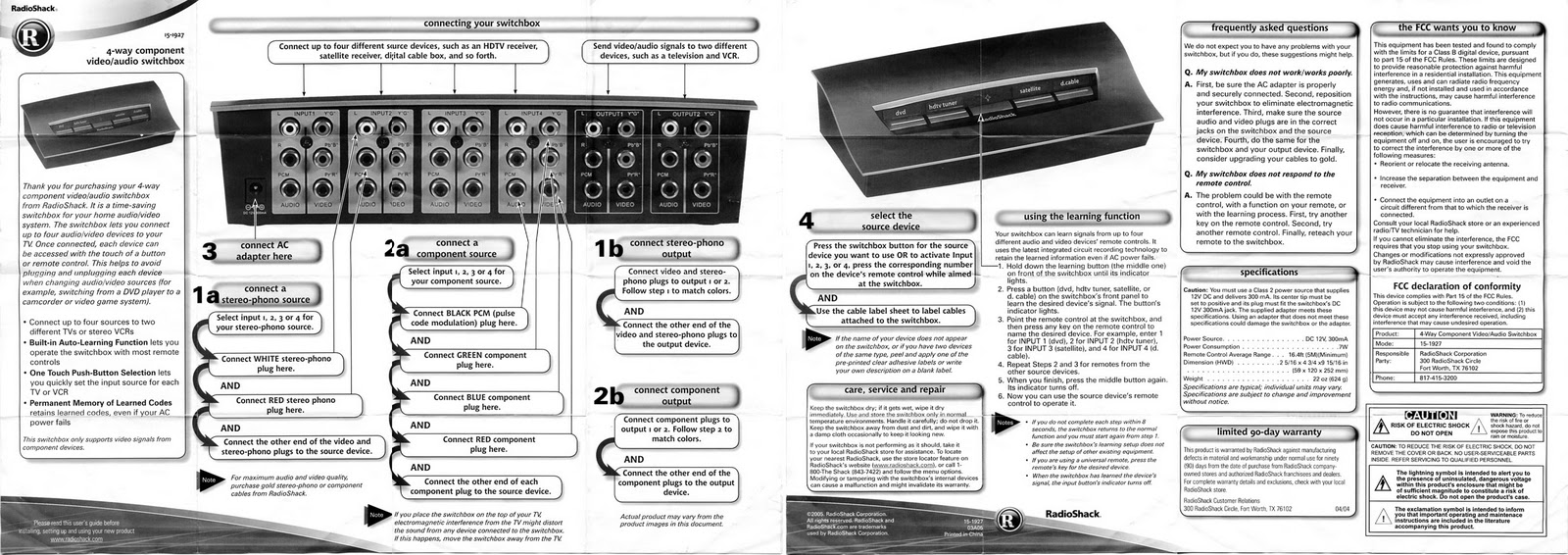 Pea Brane Radioshack 15 1927 2 Way Audio Switch Box Radio Shack 4 Output Component Composite Video