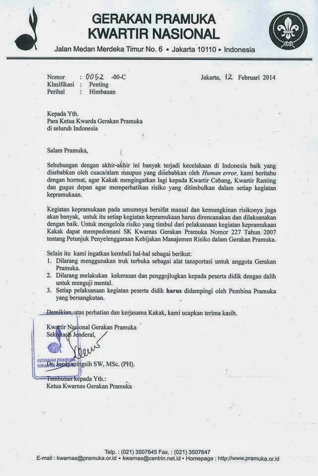 Himbauan Kwarnas tentang pelaksanaan kegiatan Pramuka