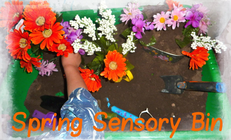 Spring Sensory Bin (Mama of Many Blessings)