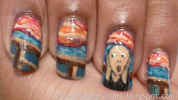 nail art edvard munch's