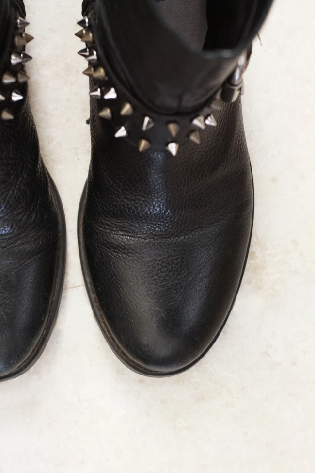 DIY, studded boots, nine west, restyle boots, black leather boots, fashion blogger diy, favorite DIY