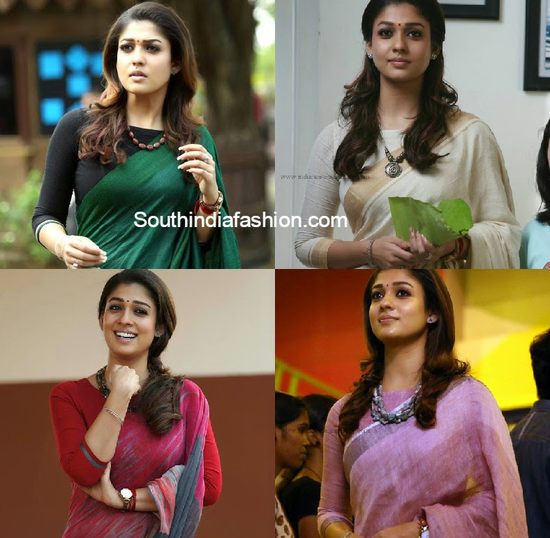 nayanthara in three fourth sleeves boat neck blouse