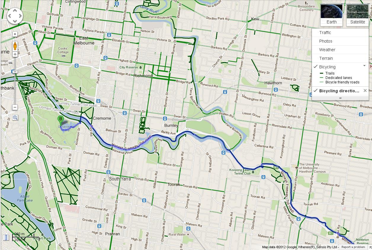 how to plan a bike route on google maps