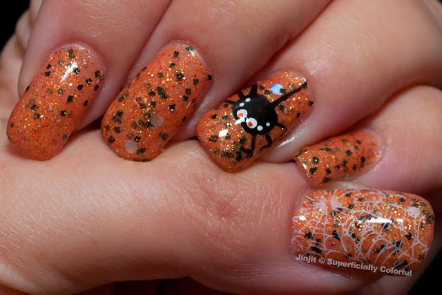 SoFlaJo Spider Funk Halloween Nail Art